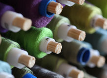 A big amount of spools with colorful threads Royalty Free Stock Images
