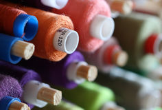 A big amount of spools with colorful threads Royalty Free Stock Image