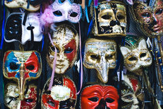 Big amount of traditional venetian carnival masks. Venice, Italy Royalty Free Stock Photos