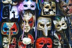 Big amount of traditional venetian carnival masks. Venice, Italy Royalty Free Stock Photos