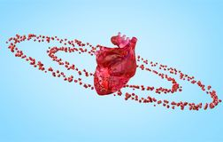 Big anatomical heart and orbits. With small red hearts isolated. 3d illustration stock photos