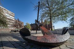 Big anchor on the Dar-es-Salaam-place in the Hafencity, Hamburg. royalty free stock photography