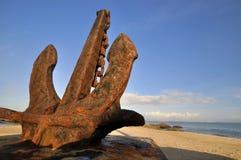 Big anchor at sea beach stock photos
