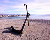 Big anchor on sea coast in Croatia, coastal view royalty free stock photos
