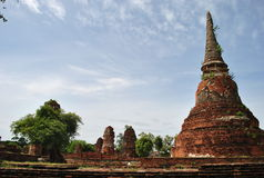 Big ancient brick pagoda on blue sky background in Thailand Stock Images