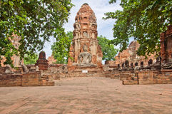 The big ancient buddha statue in ruined old temple Royalty Free Stock Photo