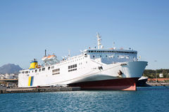 Free Big And Large Ferry Boat Or Cargo Ship In The Port. Royalty Free Stock Images - 42696869