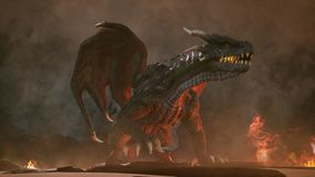 A big angry dragon in the desert is fighting off its enemies. 3D Rendering vector illustration