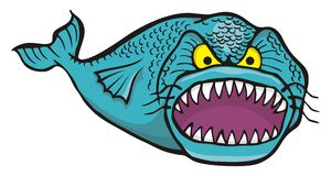 Big angry fish. Cartoon of big angry fish isolated on white Stock Images