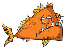 Big angry fish cartoon. Isolated on white Stock Images