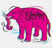 Big Animal. Elephant On A Beige Background. Elephant With A Sign. vector illustration