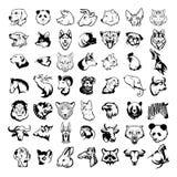 Big animal heads set vector illustration