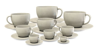 Big ans small cofee cups in group Royalty Free Stock Photos