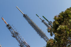 Big Antenna Tower of  Broadcasting TV and Radio Stock Images