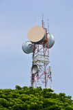 Big Antenna Tower of Communication. And blue sky Royalty Free Stock Photos
