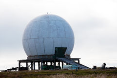 Big antenna white sphere. On grey sky background Stock Images