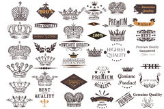 Big antique collection of vector crowns and labels for vintage d Royalty Free Stock Photos