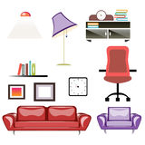 Big apartment furniture set. Living room Furniture isolated icons. Vector illustration vector illustration