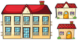 A big apartment and two small houses Royalty Free Stock Photography