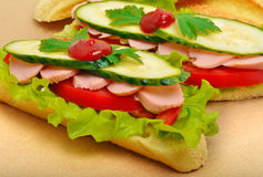 Big appetizing fast food baguette sandwich with lettuce, tomato Stock Images