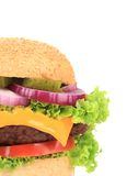 Big appetizing hamburger. Close up. Royalty Free Stock Photo