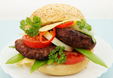 Big appetizing ruddy hamburger Royalty Free Stock Photography