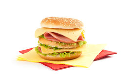 Big appetizing sandwich Royalty Free Stock Images