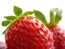 Big appetizing strawberries. Big tasty strawberries, appetizing fruits on white royalty free stock images
