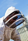 Big Apple beekeeper. Urban beekeeping. The days of guerilla beekeeping in the Big Apple are gone. After a ban of many years, keeping honey bees in New York City Stock Photos
