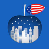 Big apple with blue background Royalty Free Stock Images