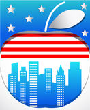 Big apple with flag. Background with big apple symbol of New York Royalty Free Stock Image