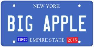 Big Apple New York License Plate stock illustration