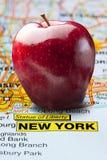 Big Apple New York Map Nickname. Big red apple nickname city of New York atlas or map royalty free stock photography