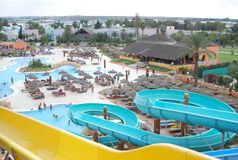 Aquapark in Tunisian hotel Royalty Free Stock Photography