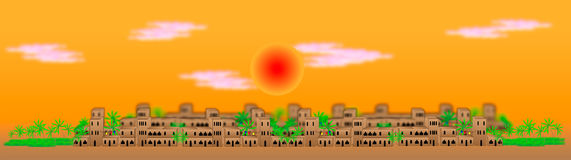 Big arabic city at sunset. Panorama of the big arabic city at sunset Stock Image