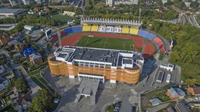 Big arena of football stadium `Geologist` in summer in Tyumen. Large arena football stadium `Geologist` from the height of the summer of 2018 in the city of stock photography