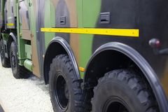 Armored tires on the big military truck royalty free stock image