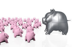 A big armored pig piggy bank Stock Photos