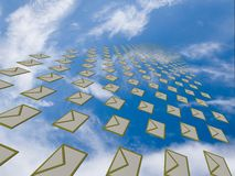 Big array of letters flying away into the sky Royalty Free Stock Photo