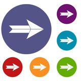 Big arrow icons set. In flat circle reb, blue and green color for web Stock Photos