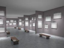 Big art gallery empty. 3d illustration Stock Photos