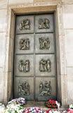 Big artistic iron door on the Slavin memorial monument in Bratis Stock Photos