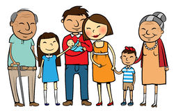Big Asian family. Cartoon vector illustration of a large Asian family with parents, children and grandparents Royalty Free Stock Images