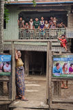 Big asian family in Myanmar Stock Photography