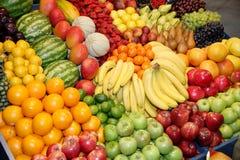 Big assortment of fresh organic fruits. Frame composition of fru Stock Image