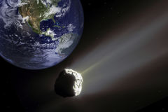Big Asteroid Closing to the Earth Planet. Apocalypse Concept. Stock Images