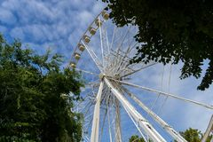 Budapest eye, a huge ferris wheel that rises over the hungarian capital, in Erzsebet Square stock photo