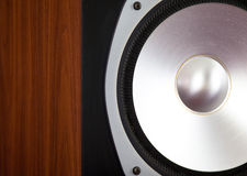 Big Audio Speaker Tweeter in Wooden Cabinet. Vintage Closeup Royalty Free Stock Photo