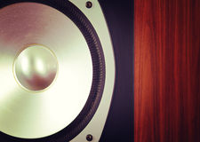 Big Audio Stereo Speaker in Wooden Cabinet. Closeup Royalty Free Stock Image