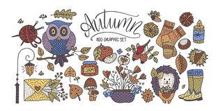Big autumn icon set. Cozy fall hand drawn vector illustration. Isolated cute sticker fall collection stock illustration